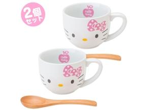 Hello Kitty Mug Cup Set with Bamboo Spoon SANRIO JAPAN For Sale - 01