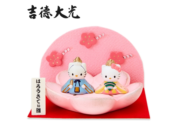 Hello Kitty & Dear Daniel Chirimen Byobu Hina Matsuri Display Dolls SANRIO JAPAN For Sale - 01