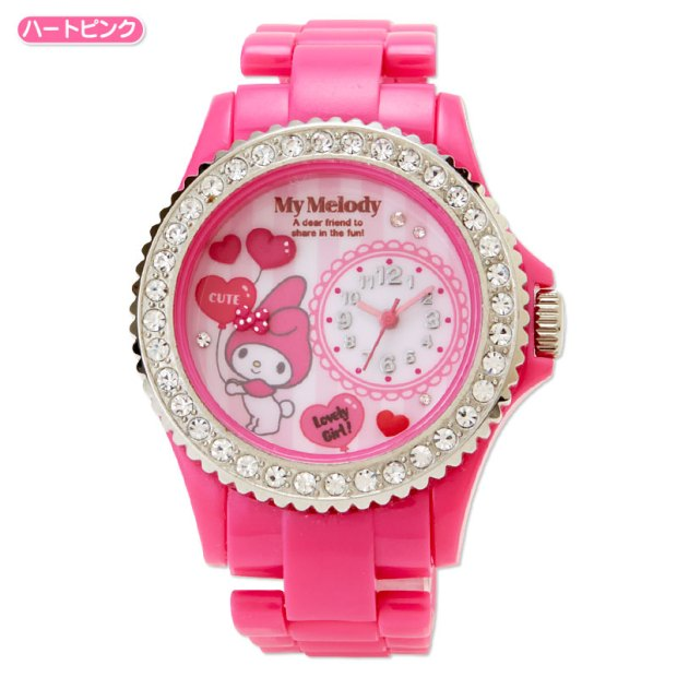 f30b8972f My Melody Deco Wrist Watch Decoration Heart Pink SANRIO JAPAN For Sale - 01