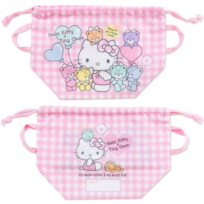 Hello Kitty x Tiny Chum Bento Lunch Case Lunchbox Tiffin Box Bag Drawstring Pouch SANRIO JAPAN For Sale - 01