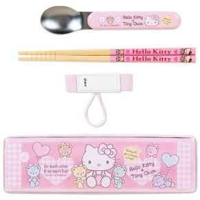 Hello Kitty x Tiny Chum Spoon & Chopsticks Set with Case SANRIO Made in JAPAN For Sale - 01