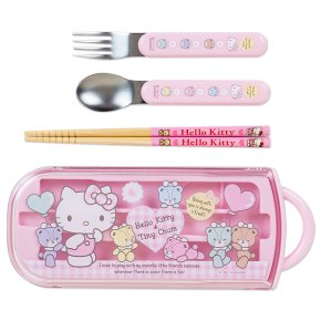Hello Kitty x Tiny Chum Spoon Fork & Chopsticks Set with Case SANRIO Made in JAPAN For Sale - 01