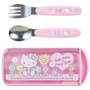 Hello Kitty x Tiny Chum Spoon & Fork Set with Case SANRIO Made in JAPAN For Sale - 01